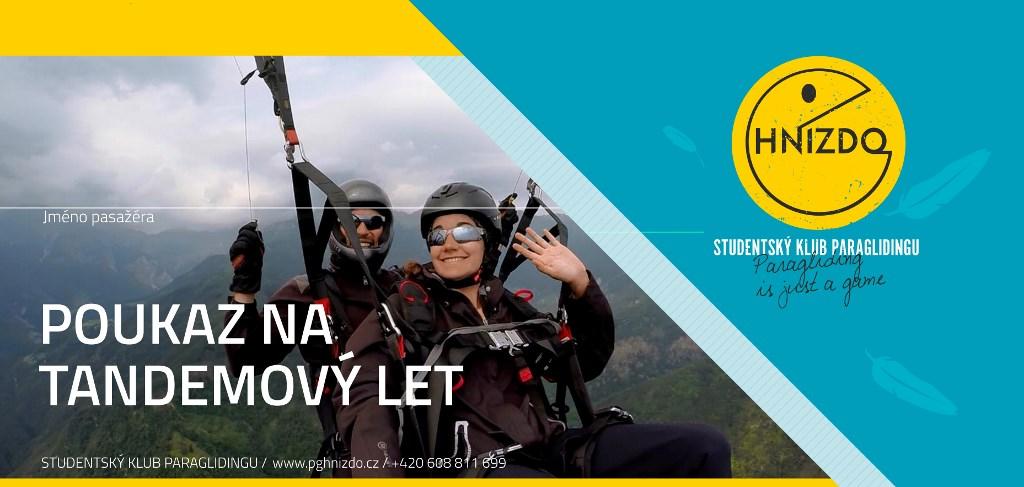 Paragliding – termický tandemový let – poukaz